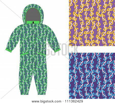 Children Winter Coverall Template With An Abstract Pattern. Set Of Seamless Textures For Baby Clothe