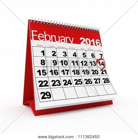 February 14th on 2016 calendar