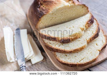 Brioche Bread On The Wooden Board
