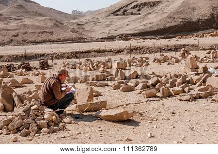 Archaeologists West Bank Of Nile Near Luxor