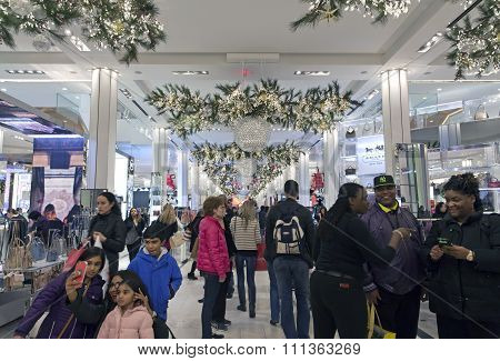 Shoppers Inside Macy's At Christmas Time In Nyc
