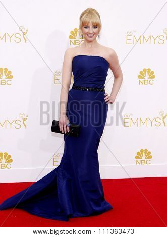 Melissa Rauch at the 66th Annual Primetime Emmy Awards held at the Nokia Theatre L.A. Live in Los Angeles on August 25, 2014.