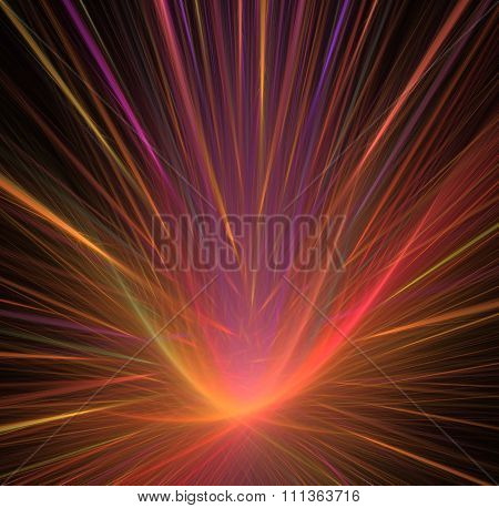 Abstract Black Background With Rainbow - Rose, Orange, Yellow, Magenta, Red Flower Or Lotus With Ray