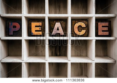 Peace Concept Wooden Letterpress Type In Drawer