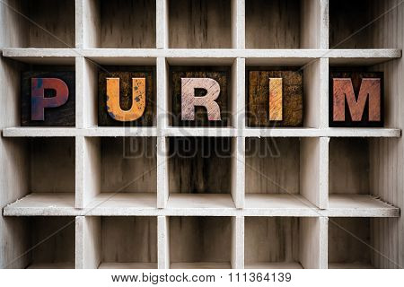 Purim Concept Wooden Letterpress Type In Drawer