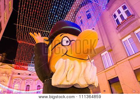 Advent in Zagreb, Croatia, street statue of professor Baltazar, Christmas atmosphere