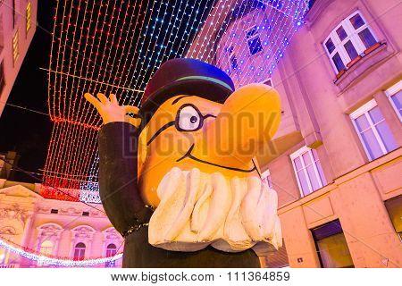 Advent in Zagreb, Croatia, street statue of professor Baltazar, Christmas atmosphere