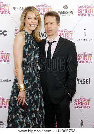 Leslie Bibb and Sam Rockwell at the 2013 Film Independent Spirit Awards held at the Santa Monica Beach in Los Angeles, California, United States on February 23, 2013.