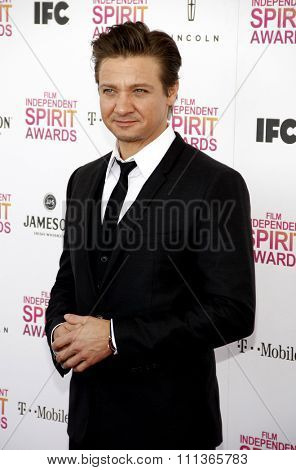 Jeremy Renner at the 2013 Film Independent Spirit Awards held at the Santa Monica Beach in Los Angeles, California, United States on February 23, 2013.