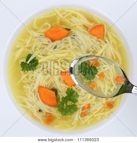 Healthy Eating Noodle Soup In Bowl With Noodles And Spoon