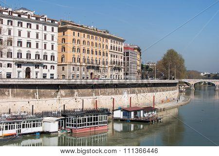 Tiber Riverbank In Rome, Italy