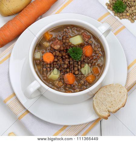 Healthy Eating Lentil Soup Stew With Vegetables Lentils In Bowl