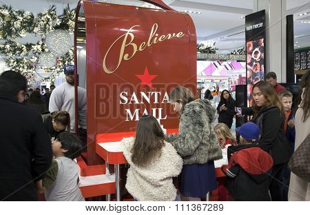 Children Write Letters To Santa In Macy's In Nyc