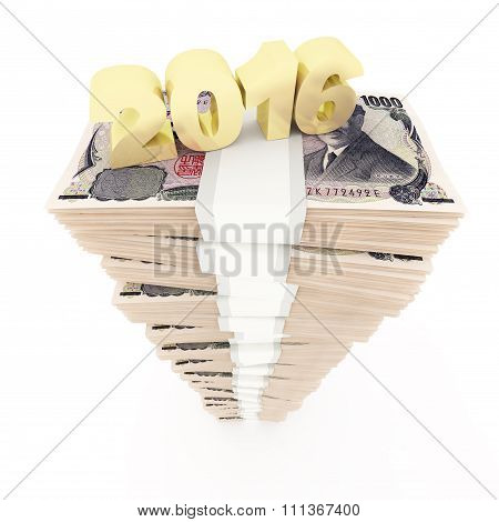 New year 2016 and Japanese yen stack