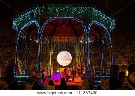 Advent in Zagreb, Croatia, music pavilion in Zrinjevac park
