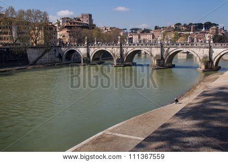 Bridge Across Tiber River, Rome, Italy