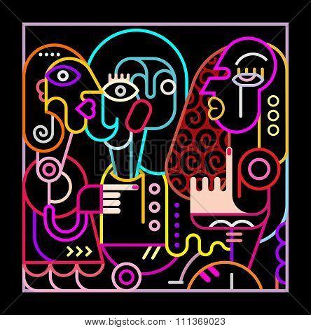 Abstract Art Neon Illustration