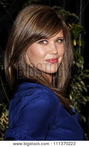 Sarah Lancaster arrives to the opening of Beso Restaurant held at the Beso in Hollywood, California, United States on March 6, 2008.