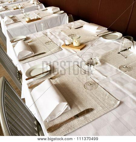 Elegant Table Setting In A Restaurant