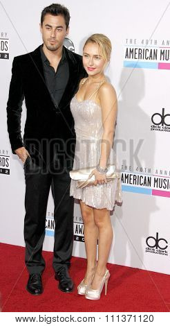 Scotty McKnight and Hayden Panettiere at the 40th Anniversary American Music Awards held at the Nokia Theatre L.A. Live in Los Angeles, California, United States on November 18, 2012.