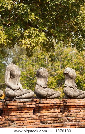 Ancient Buddha In At Chaiwatthanaram,Ayutthaya Historical Park Of Thailand.