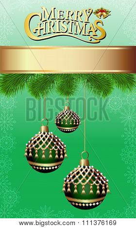 illustration background with fir branches and Christmas balls wi