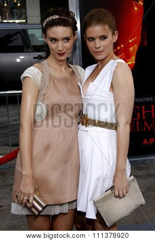 HOLLYWOOD, CALIFORNIA - April 27, 2010. Rooney Mara and Kate Mara at the World premiere of