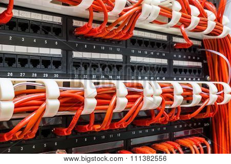 Close up of red network cables connected to switch