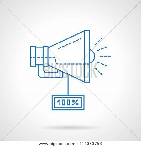 Megaphone with sale tag blue line vector icon