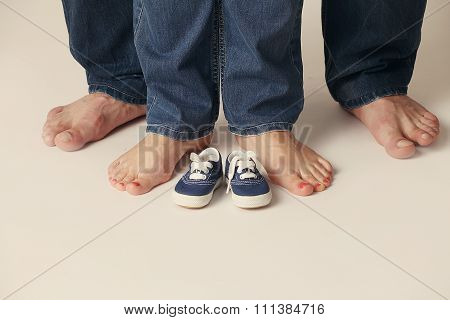 Feet Men And Women In Jeans