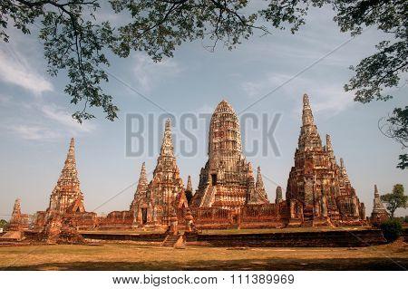 Pagoda In Wat Chaiwatthanaram,Ayutthaya Historical Park Of Thailand.