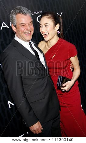 HOLLYWOOD, CALIFORNIA - Tuesday March 20, 2012. Olga Kurylenko and Danny Huston at the Los Angeles Premiere of Starz Series
