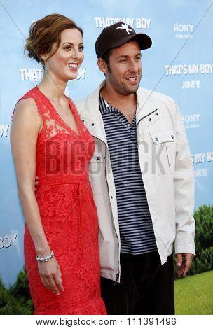 Eva Amurri Martino and Adam Sandler at the Los Angeles premiere of