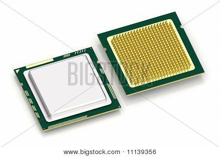Procesador de la CPU en blanco