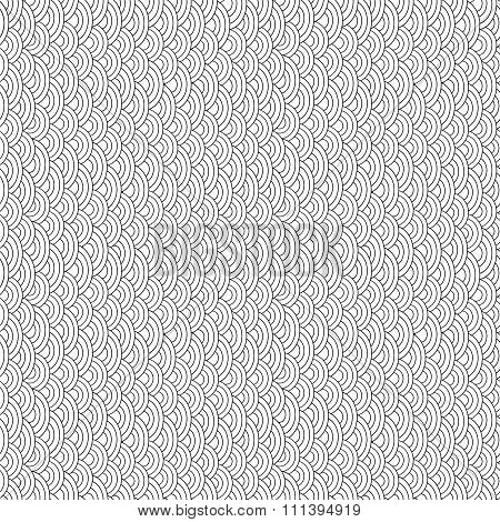 Black and white fish scales seamless pattern