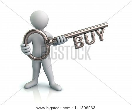 Man And Silver Key With Word Buy