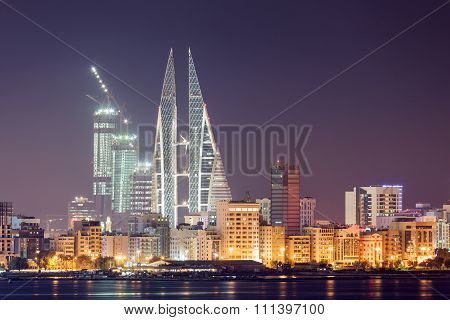 Skyline Of Manama At Night, Bahrain