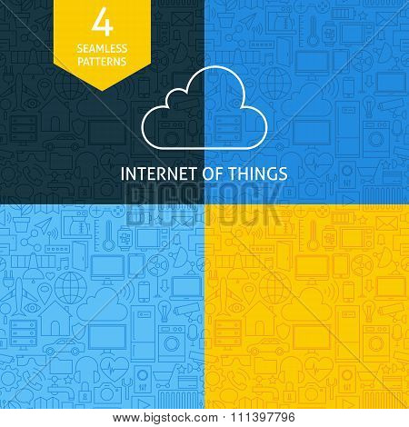 Thin Line Art Internet Of Things Pattern Set