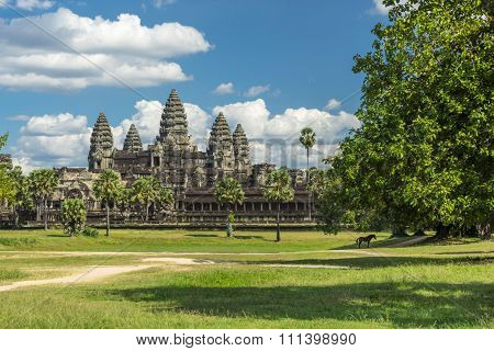 Ancient temple Angkor wat on sunny day with blue skay