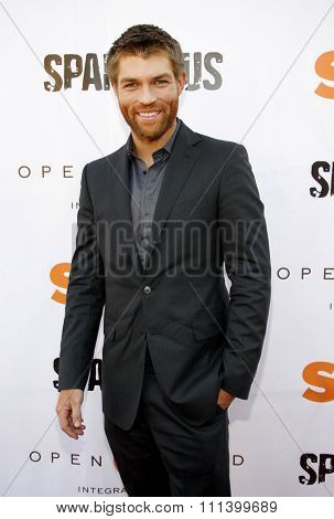 Liam McIntyre at the Starz Celebrates Kirk Douglas held at the Academy of Television Arts & Sciences Goldenson Theater in Los Angeles, California, United States on May 31, 2012.