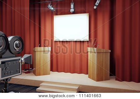 Blank White Poster In Conference Hall With Tribune And Vintage Camera, Mock Up