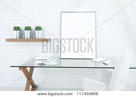 Blank White Picture Frame On Glassy Table In Modern Loft Room, Mock  Up