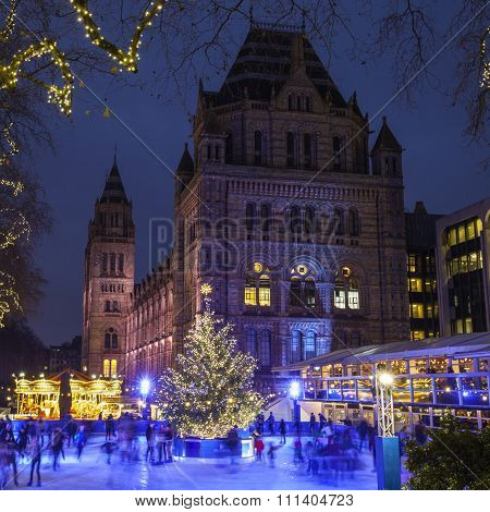 Christmas Ice Rink At The Natural History Museum In London