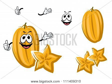 Cartoon yellow carambola or starfruit