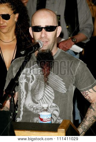 Scott Ian of Anthrax attends the Posthumoustly Induction of legenadary metal guitarist Dimebag Darrell Abbott into Hollywood's RockWalk held at the Guitar Center in Hollywood on May 17, 2007.