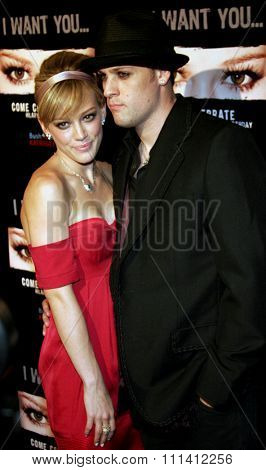 Hilary Duff and Benji Madden attend Hilary Duff's 18th Birthday Party held at the Club Mood in Hollywood, California, on September 28, 2005.