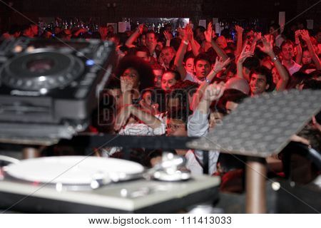 British superstar deejay Judge Jules set up at Club Vanguard in Hollywood, California, on April 28, 2007.
