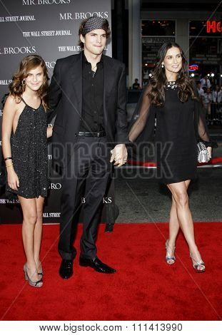 Tallulah Belle Willis, Ashton Kutcher and Demi Moore attend Los Angeles Premiere of