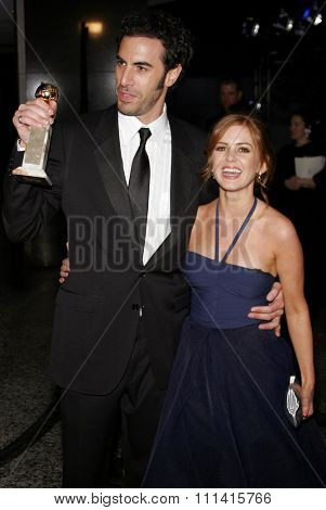 Sacha Baron Cohen and Isla Fisher attend the 2007 Paramount Pictures Golden Globe Award After-Party held at the Beverly Hilton Hotel in Beverly Hills, California, on January 15, 2007.