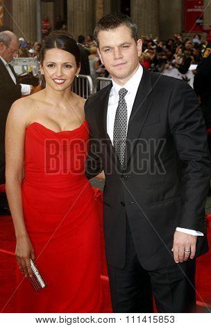 Luciana Barroso and Matt Damon attend the Los Angeles Premiere of